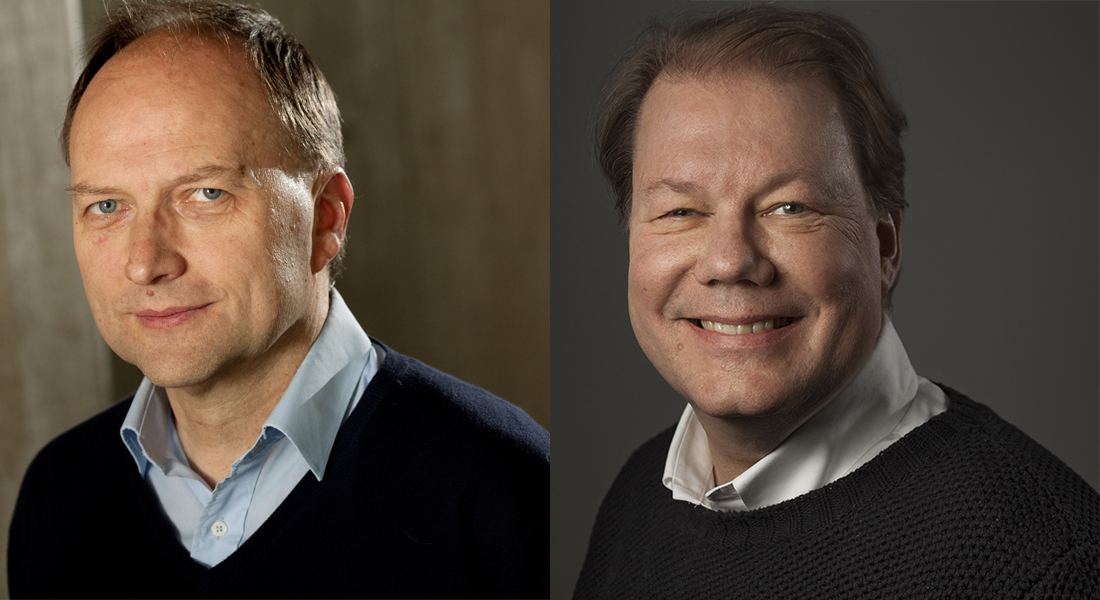 Portrait foto of Michael Kjær and Søren Brunak