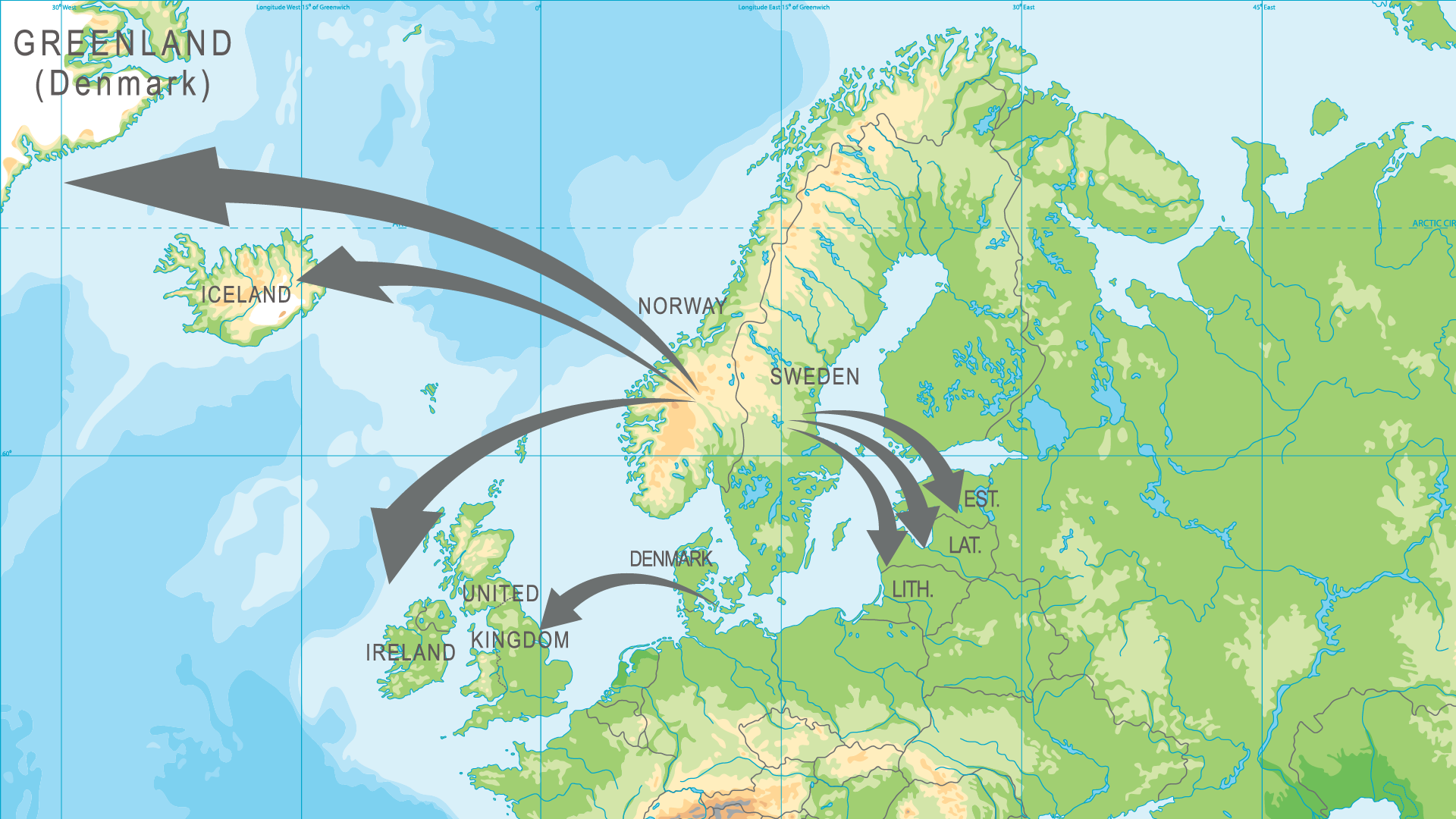 The Danish vikings went to England, the swedish vikings went to the Baltics and the Norwegian vikings went to Ireland, Iceland and Greenland.