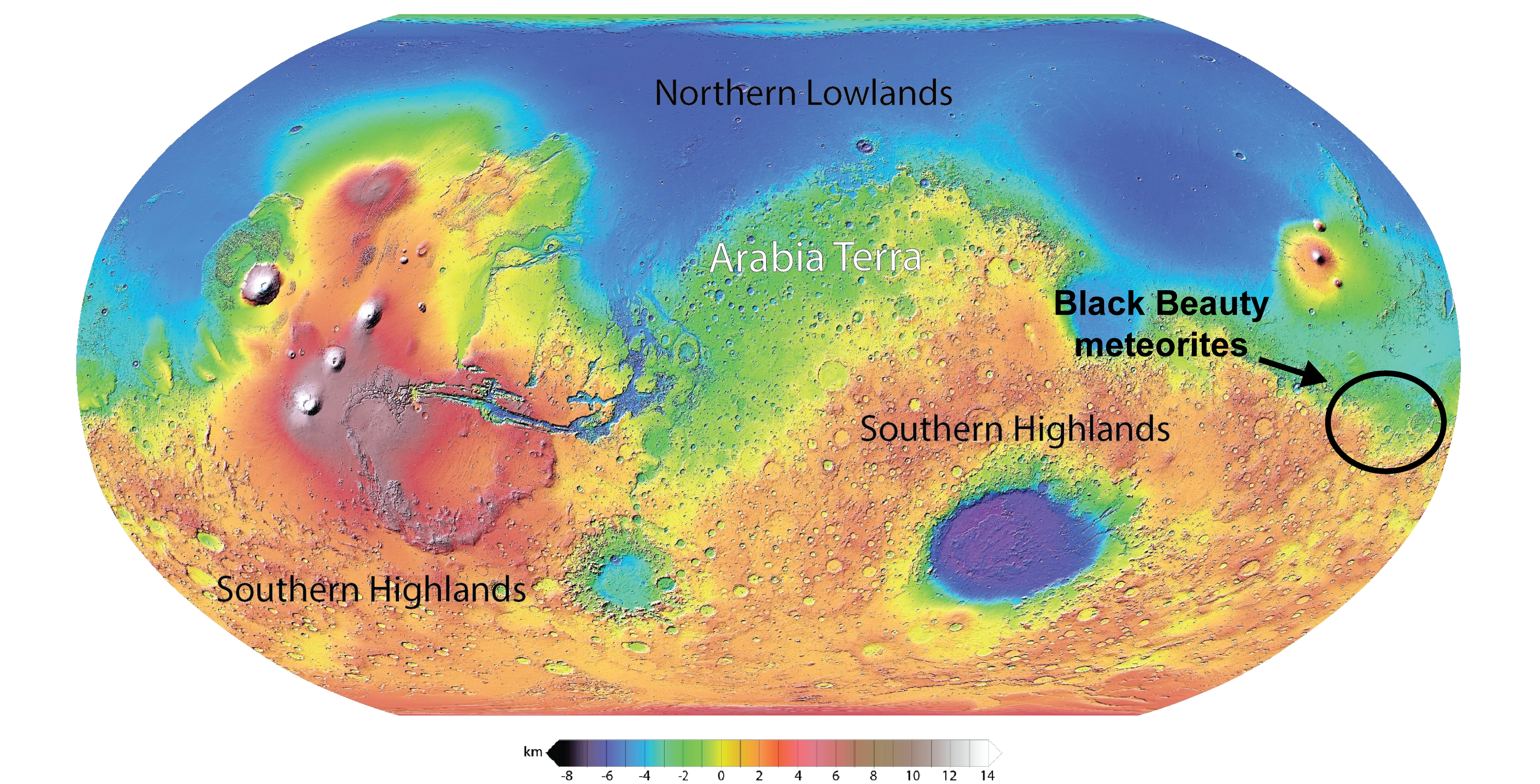 A map of Mars' surface points to an area where Black Beauty meteorites originate